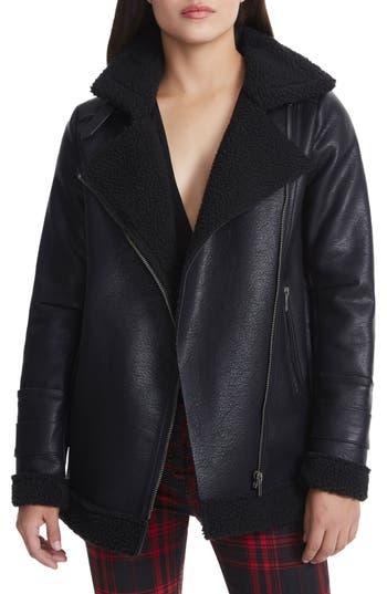 Women's Afrm Opelia Oversize Faux Shearling Jacket, Size X-Small - Black