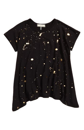 Girl's Soprano Paint Splatter Tee, Size S (8-10) - Black