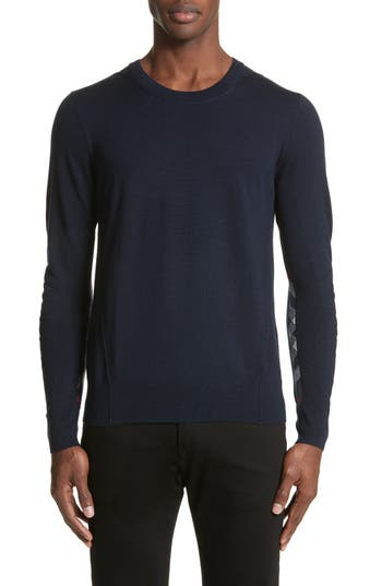 Burberry Carter Merino Wool Crewneck Sweater, Blue