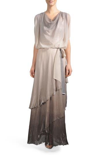 Komarov Ombre Tiered Skirt Blouson Gown, Grey