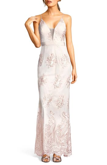 Adrianna Papell Embroidered Plunging Tulle Gown, Beige