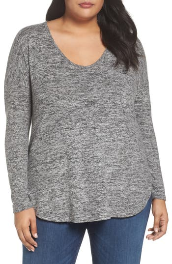 Women's Soprano High/low Knit Top, Size 1X - Grey