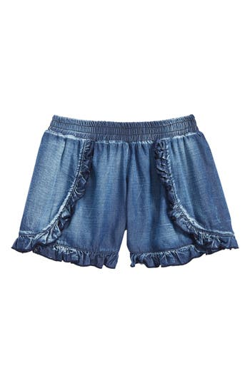 Girl's Flowers By Zoe Ruffle Shorts, Size S (7) - Blue