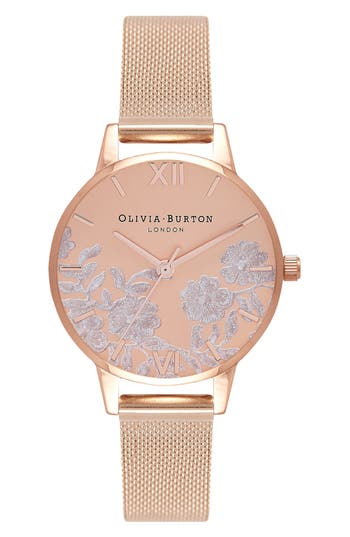 Women's Olivia Burton Lace Detail Mesh Strap Watch, 30Mm