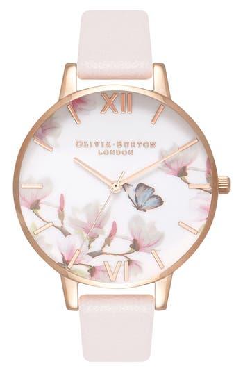 Women's Olivia Burton Pretty Blossom Leather Strap Watch, 38Mm
