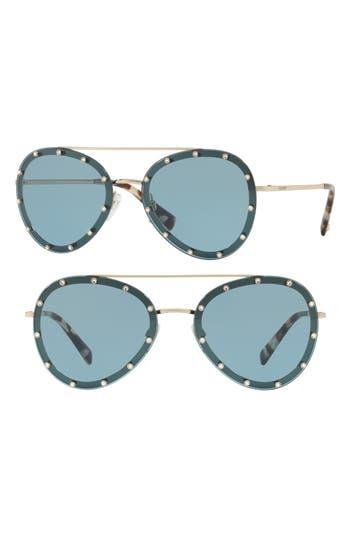 Women's Valentino 58Mm Metal Aviator Sunglasses - Gold/ Blue