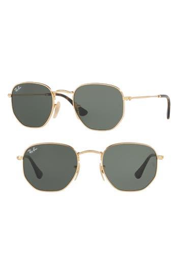 Ray-Ban 4m Hexagonal Flat Lens Sunglasses - Gold/ Green