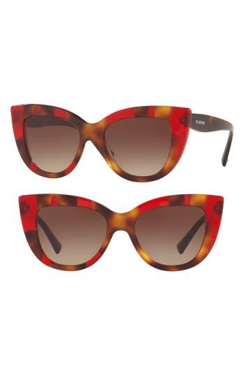 Women's Valentino 51Mm Cat Eye Sunglasses - Tortoise Red
