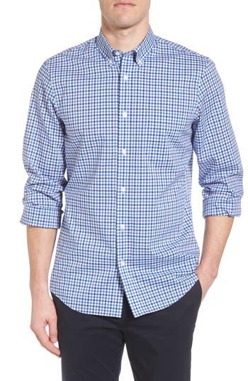Nordstrom Shop Tech-Smart Regular Fit Check Sport Shirt, Blue