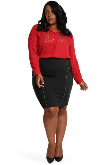 Plus Size Women's Poetic Justice Tiffy Ponte Knit Pencil Skirt, Size 1X - Black