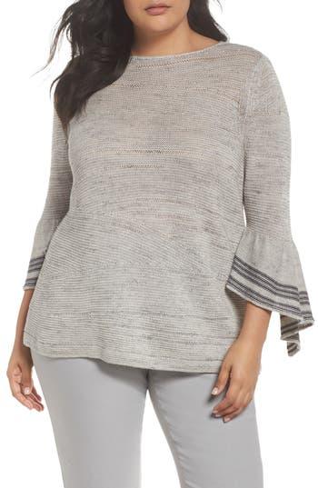 Plus Size Nic+Zoe Traveling Stripe Bell Sleeve Top, Grey