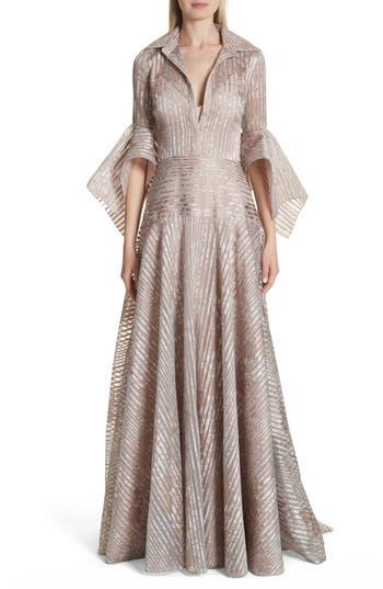 Badgley Mischka Platinum Metallic Texture Stripe Organza Gown