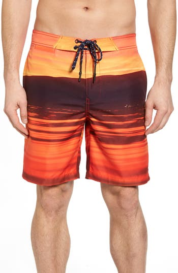 Men's Surfside Supply Red Sea Photo Real Board Shorts, Size Small - Red