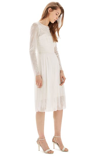 Women's Topshop Bride Tulle & Chantilly Lace Midi Dress, Size 2 US (fits like 0) - Ivory