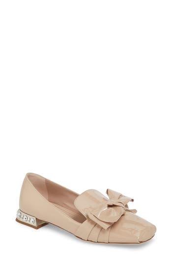 Women's Miu Miu Embellished Heel Bow Loafer, Size 5.5US / 35.5EU - Pink