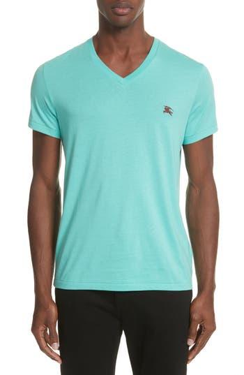 Men's Burberry Jadford Standard Fit V-Neck Tee, Size Small - Blue/green