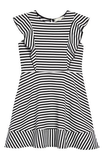 Girl's Soprano Stripe Skater Dress, Size S (8-10) - Black