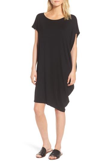 Eileen Fisher Asymmetrical Jersey Shift Dress, Black