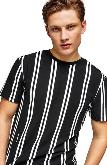 Topman Stripe Pique T-Shirt, Black