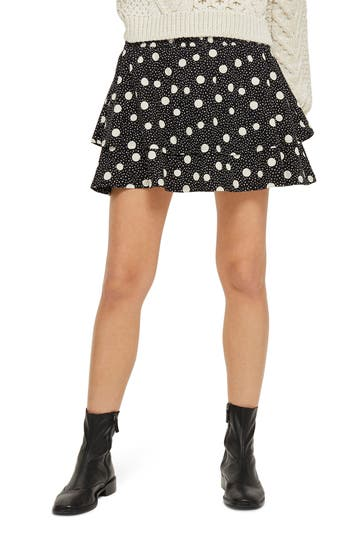 Topshop Tiered Polka Dot Skirt, US (fits like 10-12) - Black