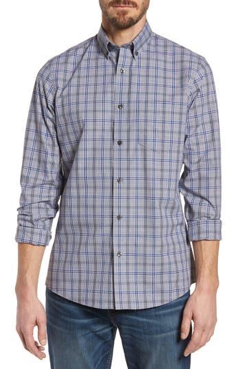 Nordstrom Shop Trim Fit Non-Iron Check Sport Shirt, Grey