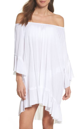 Elan Off The Shoulder Cover-Up Dress, Size One Size - White