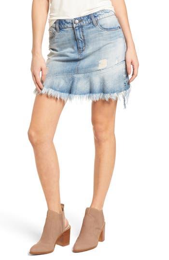 Sts Blue Ruffle Raw Hem Denim Skirt, Blue