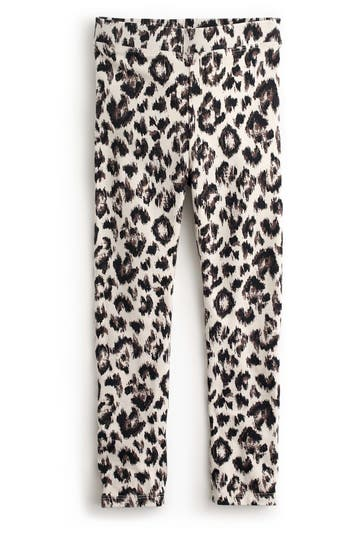 Girls Crewcuts Snow Leopard Stretch Cotton Leggings