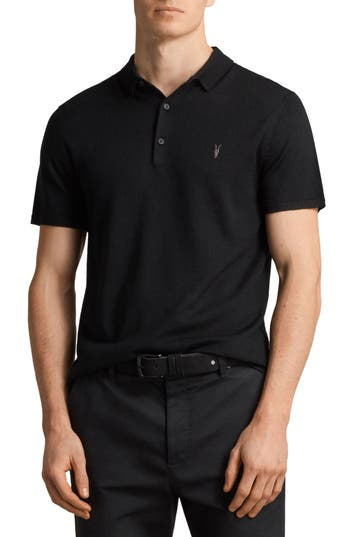 Allsaints Mode Slim Fit Merino Wool Polo, Black