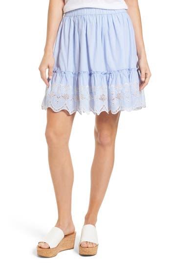 Caslon Embroidered Hem Cotton Pinstripe Skirt, Blue