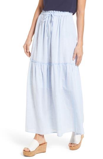 Caslon Drawstring Ruffle Cotton Maxi Skirt, Blue