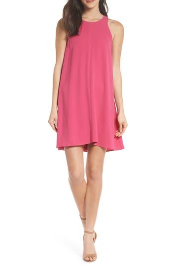 Charles Henry Bow Back Sleeveless Trapeze Dress, Pink