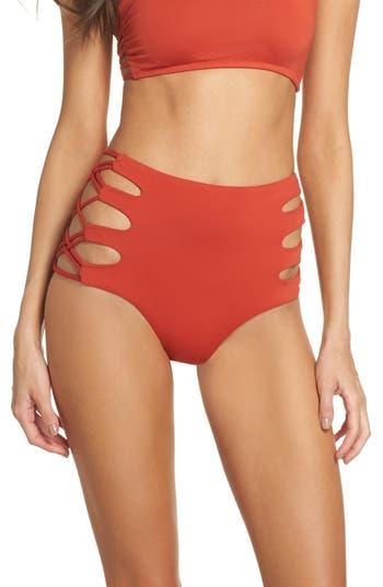 Isabella Rose Paradise High Waist Bikini Bottoms, Red
