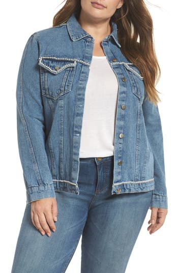 plus size women's lost ink imitation pearl embellished denim jacket