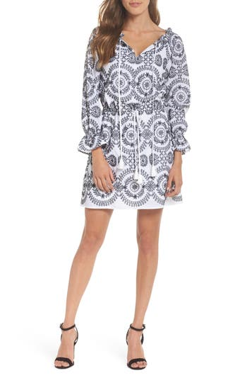 Sam Edelman Embroidered Tile Pattern Dress, White