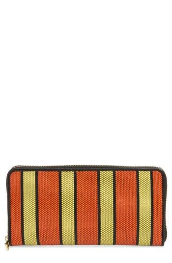 Women's Diane Von Furstenberg Raffia Continental Zip Wallet - Orange