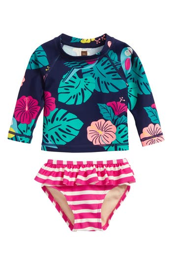Infant Girl's Tea Collection Mixed Print Two-Piece Rashguard Swimsuit, Size 3-6M - Pink