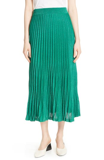 Women's Maje Jupette Pleated Midi Skirt, Size 1 - Green