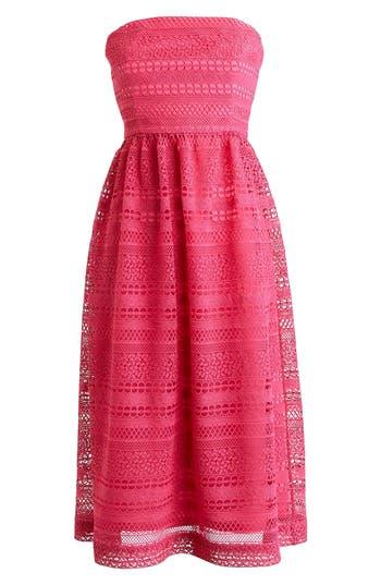 Women's J.crew Strapless Lace Dress, Size 00 - Coral
