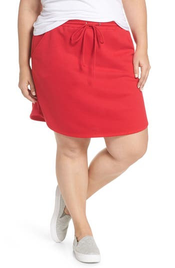 Plus Size Gibson X Living In Yellow Cassidy French Terry Skirt, Red