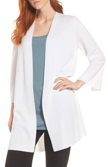 Eileen Fisher Simple Long Cardigan, Ivory