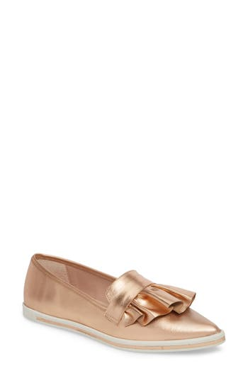 Women's James Chan Taraji Ruffle Slip-On Sneaker, Size 5 M - Metallic