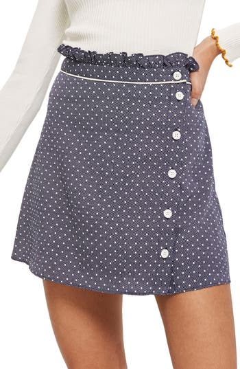 Topshop Spot Ruffle Miniskirt, US (fits like 6-8) - Blue