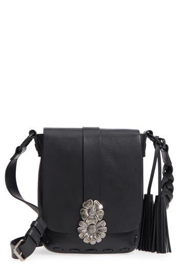 Saint Laurent Floral Clasp Leather Crossbody Bag