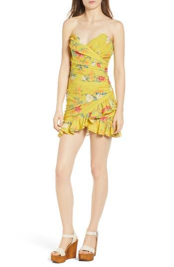 Lovers + Friends Casey Strapless Minidress, Yellow