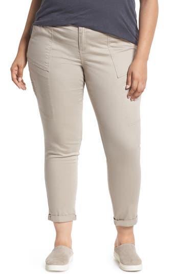 Plus Size Wit & Wisdom Flex-Ellent Stretch Cotton Cargo Pants, Beige