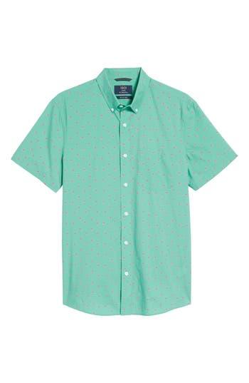 1901 Slim Fit Flamingo Print Sport Shirt, Green