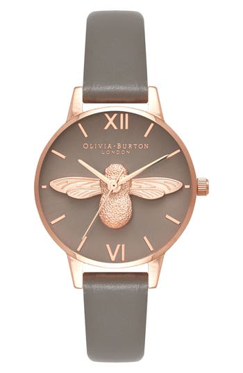Olivia Burton 3D Bee Leather Strap Watch, 30mm