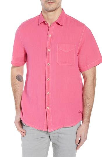 Men's Big & Tall Tommy Bahama Seaspray Breezer Linen Sport Shirt, Size LT - Pink