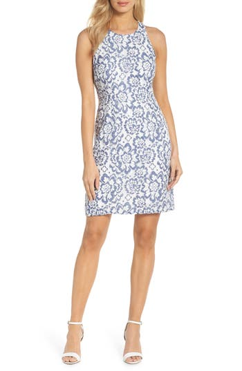Adrianna Papell Elisa Two Tone Lace Sheath Dress, Blue